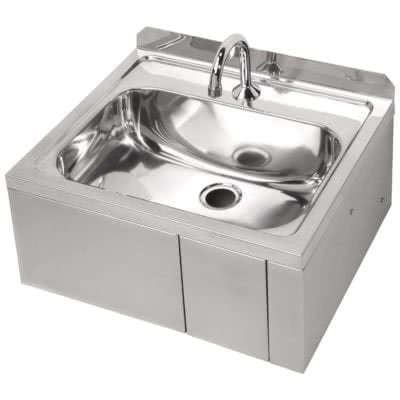 Knee Operated Stainless Steel Basin with Time Flow Valve