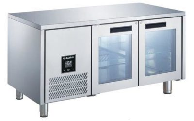 GLACIAN – 760mm Deep 2 Door Glass Under bench Fridge