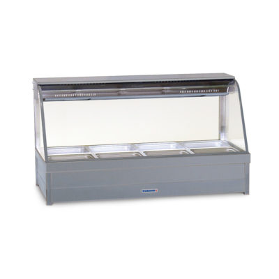 Roband Curved Glass Hot Food Display Bar with roller doors 8 x 1/2 size pans – Double row 13.9amp