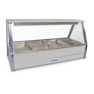 Roband Angled Glass Hot Food Display Bar 8 x 1/2 size pans – Double row with roller door 13.9amp