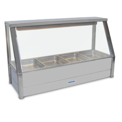 Roband Angled Glass Hot Food Display Bar, 4 x 1/2 size pans – Single Row 9.4amp