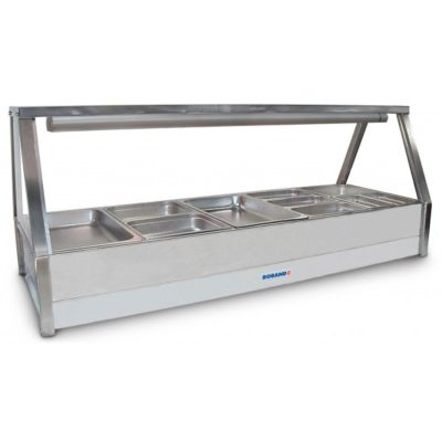 Roband Curved Glass Hot Food Display Bar, 10 x 1/2 size pans – Double Row
