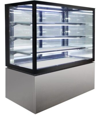 Square Glass 4 Tier Hot Display 900mm – 355lt