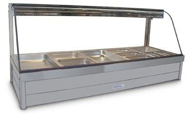Roband Curved Glass Hot Food Display Bar, 10 x 1/2 size pans – Double Row 15amp