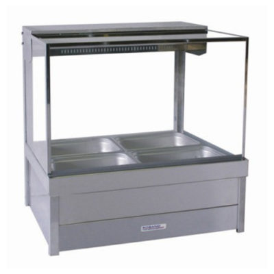 Roband Square Glass Hot Food Display Bar with roller doors  4 x 1/2 size – Double Row 6.3amp