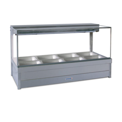 Roband Square Glass Hot Food Display Bar, 8 x 1/2 size pans – Double row 13.9amp