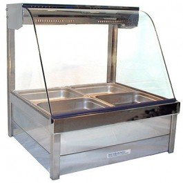 Roband Curved Glass Hot Food Display with roller doors – 4 x 1/2 Size Pans Double Row 6.3amp