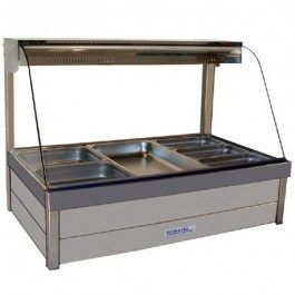 Roband Curved Glass Hot Food Display Bar with roller doors, 6 x 1/2 size pans – Double row 10amp