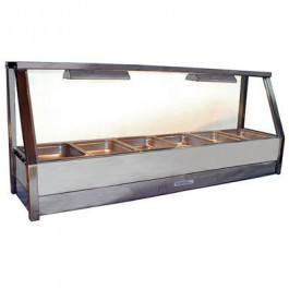 Roband Angled Glass Hot Food Display Bar 6 x 1/2 size pans – Single row with roller door 10amp