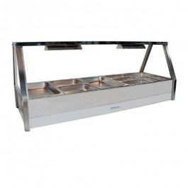 Roband Angled Glass Hot Food Display Bar, 10 x 1/2 size pans – Double Row 15amp