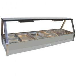Roband Angled Glass Hot Food Display Bar 12 x 1/2 size pans – Double row with roller door 15amp
