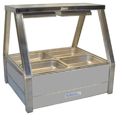 Roband Angled Glass Hot Food Display Bar, 4 x 1/2 size pans – Double row 6.3amp