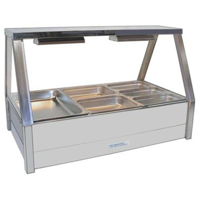 Roband Angled Glass Hot Food Display Bar 6 x 1/2 size pans – Double row with roller door 10amp