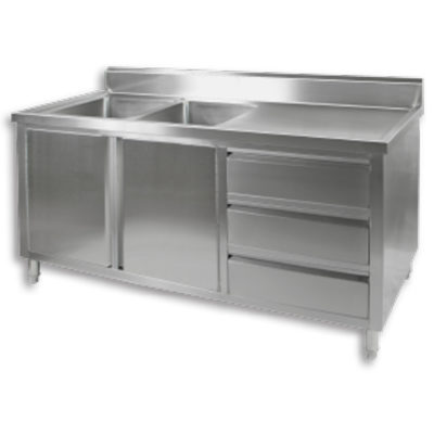 DSC-1800L-H KITCHEN TIDY CABINET WITH DOUBLE LEFT SINKS