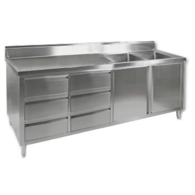 DSC-2100R-H KITCHEN TIDY CABINET WITH DOUBLE RIGHT SINKS