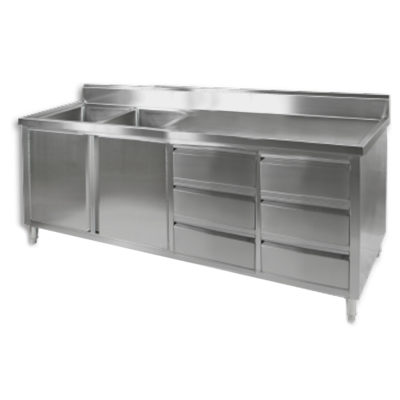 DSC-2400L-H KITCHEN TIDY CABINET WITH DOUBLE LEFT SINKS