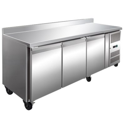 FE3100TFSP Three Door Bench Fridge With Splashback 386L