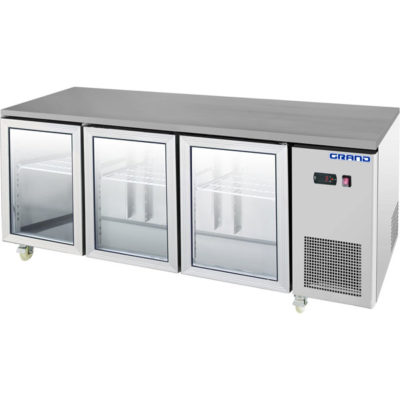 GTR3100BG GRAND True Quality 3 Glass Door Gastronorm Work Bench Fridge