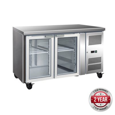 GN2100TNG – 2 Glass Door Gastronorm Bench Fridge