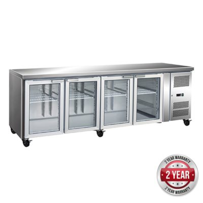 GN4100TNG – 4 Glass Door Gastronorm Bench Fridge