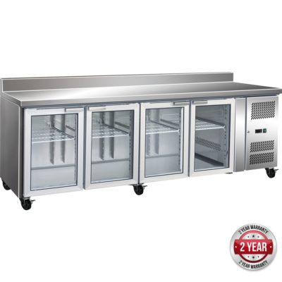 GN4200TNG 4 Glass Door Gastronorm Bench Fridge with Splashback