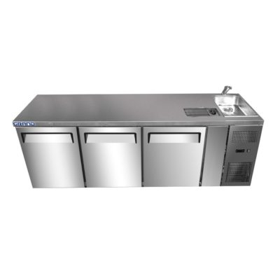 GTR3100BS GRAND True Quality Three Door Work Bench Fridge with Sink