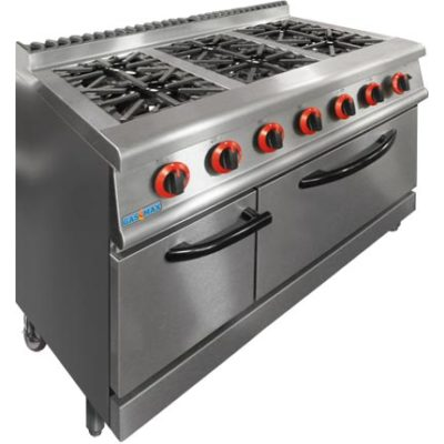 JZH-RP-6 GASMAX Natural Gas 6 Burner Top On Oven with Flame Failure