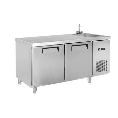 LDWB150FS Two Door Stainless Steel Workbench Freezer with Sink