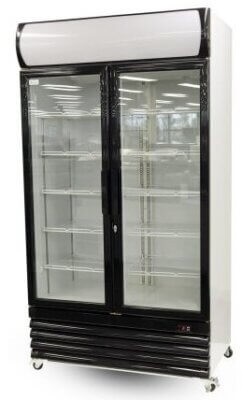 LG-1000BG Large Two Glass Door Colourbond Upright Drink Fridge – Black