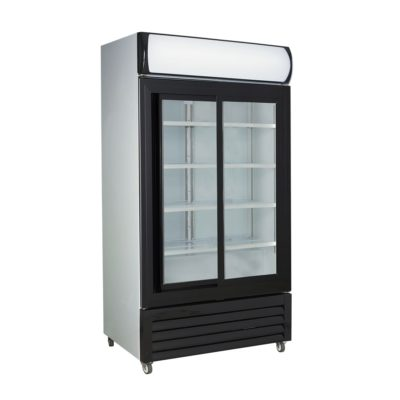 Large Black Sliding Two Glass Door Colourbond Upright Drink Fridge – LG-1000SDBG