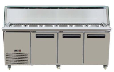 PG210FA-YG Three Door Premium S/S Cold Salad & Noodle Bars – 6× 1/1 GN Pans