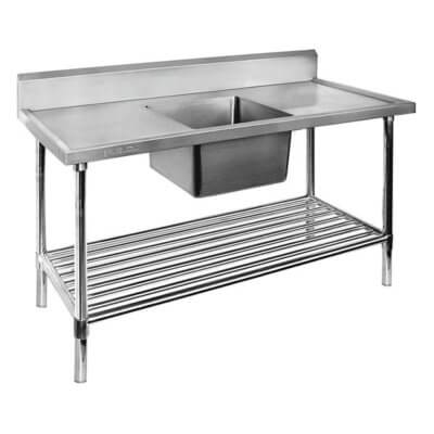 1200-6-SSBC Economic 304 Grade SS Centre Single Sink Bench with 400x400x250 sink