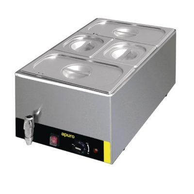 Bain Marie with Tap and Pans – With 2 x GN 1/3 and 2 x GN 1/6 pans & Lids