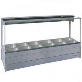 Roband Square Glass Hot Food Display Bar with roller doors 12 x 1/2 size pans – Double Row 15amp