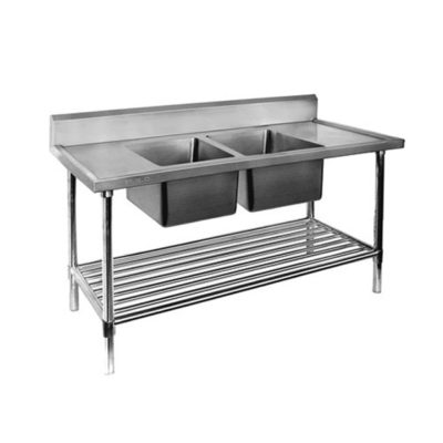 Double Centre Sink Bench with Pot Undershelf  DSB7-1500C/A Bowl size 450mmW×450D×300H