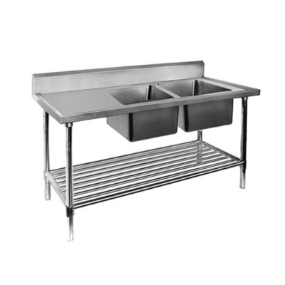 Double Right Sink Bench with Pot Undershelf DSB7-2400R/A Bowl size 450mmW×450D×300H