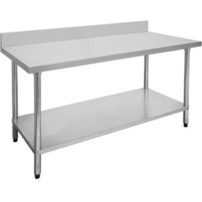 1200-6-WBB Economic 304 Grade Stainless Steel Table with splashback  1200x600x900