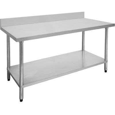 2400-6-WBB Economic 304 Grade Stainless Steel Table with splashback  2400x600x900