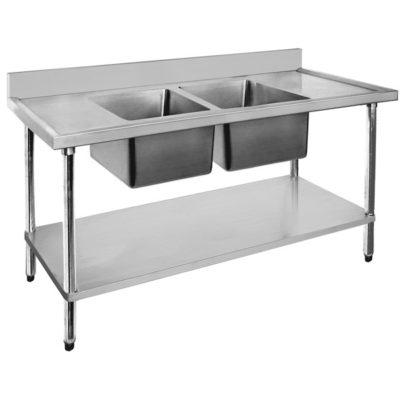 Economic 304 Grade SS Centre Double Sink Bench 2400x700x900 Bowl Size: 610x400x250