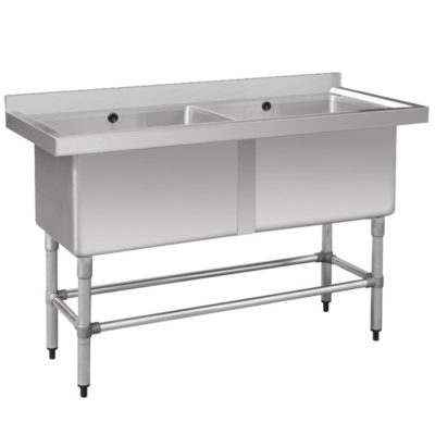 Stainless Steel Double Deep Pot Sink 1410-6-DSB Bowl Size: 610×400×450