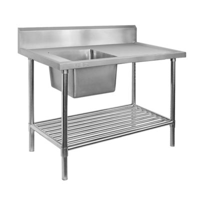 Single Left Sink Bench with Pot Undershelf SSB7-1200L/A Bowl size 400mmW×400D×300H