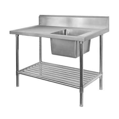 Single Right Sink Bench with Pot Undershelf SSB7-1500R/A Bowl size 450mmW×450D×300H