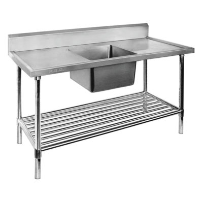 Single Centre Sink Bench & Pot Undershelf SSB7-1500C/A Bowl size 450mmW×450D×300H