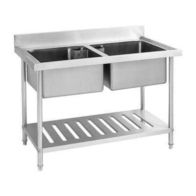 Stainless Steel Double Centre Sink Bench with Pot Shelf SDSB-7-1500R