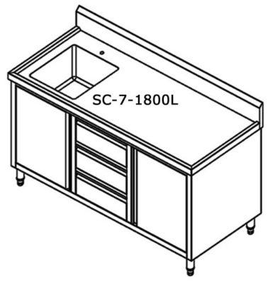 SC-7-1800L-H CABINET WITH LEFT SINK