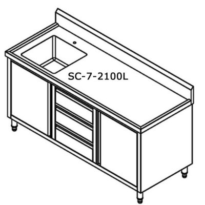 SC-7-2100L-H CABINET WITH LEFT SINK