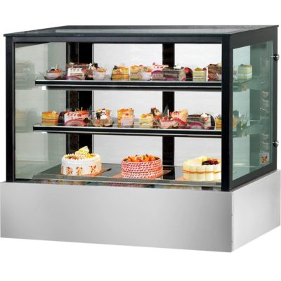 SSU180-2XB Black Trim Square Glass Cake Display 2 Shelves 1800x700x1100