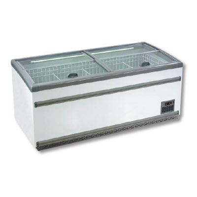 ZCD-E185S Supermarket Island Dual Temperature Freezer & Chiller‌ with Glass Sliding Lids