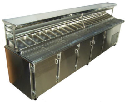 VIP Pizza (Food) Preparation Bar; 7-20 x 1/3 size pots; single or double side; standard and made to order