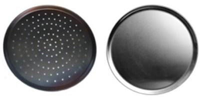 Black Steel Pizza Trays – Plain & Perforated